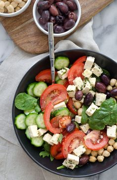 Vegan Greek Salad with Tofu Feta! The best salad for summer; packed with protein and fiber. Vegan and Gluten-Free. Greek Recipes, Whole Food Recipes, Amish Recipes, Dutch Recipes, Light Recipes, Vegan Greek, Tofu Salad, Lentil Salad, Cooking Tofu