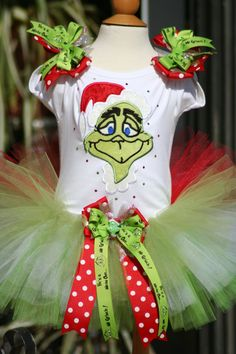 Grinch tutu with bling and bows by TeenyTinyTwinkles on Etsy, $50.00