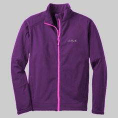Embroidered SHM Ladies Traverse Jacket   Strong Healthy Mom  A water-resistant shell joins a warm microfleece lining to let you comfortably traverse through wind and wet.   93/7 poly/spandex woven bonded to 100% polyester microfleece lining with laminated film insert to repel water and wind 1000MM fabric waterproof rating 1000G/M2 fabric breathability rating Gently contoured silhouette Self-fabric adjustable tab cuffs with hook and loop closures Front zippered pockets Open hem