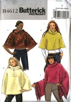 Butterick Sewing Pattern 4612 Misses Size 16-18-20-22 Easy Collar Hooded Ponchos   Butterick+Sewing+Pattern+4612+Misses+Size+16-18-20-22+Easy+Collar+Hooded+Ponchos