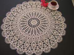 Lace table topper crocheted doily