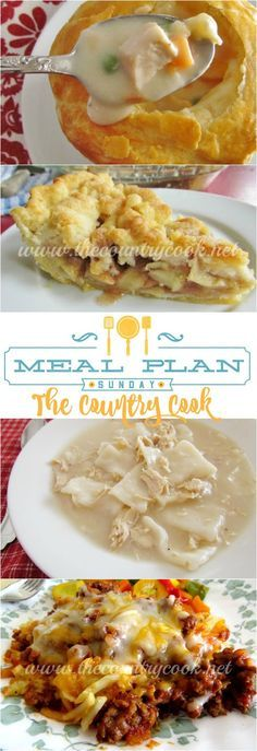 Meal Plan Sunday #7 at The Country Cook recipes include Old-Fashioned Chicken & Dumplings, Sloppy Joe Casserole, Crock Pot Chicken Parmesan, Pumpkin Layer Cake, Hamburger Steaks & Gravy