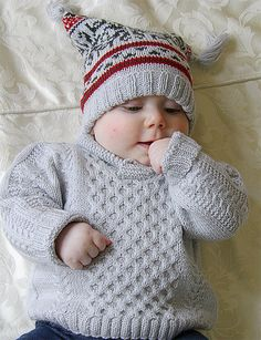 Knitting Pattern for Baby Cable Sweater, Fair Isle Hat, and Booties - This fabul. Knitting Pattern for Baby Cable Sweater, Fair Isle Hat, and Booties - This fabulous little baby pullover has a very simp. Baby Boy Cardigan, Crochet Baby Cardigan, Knit Baby Sweaters, Toddler Sweater, Baby Pullover, Knitted Baby Clothes, Knitted Baby Blankets, Knit Crochet, Cable Sweater