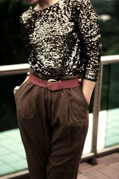 Sequins Top + Cargo Pants.