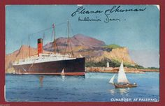 A postcard of the Carpathia, signed by two of the survivors who were rescued by her.