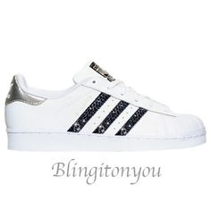 the best attitude 4cf7b 5c932 Adidas Original Superstar Women s Shoes Blinged with Black Swarovski  Crystals   Brand New and In Box   Blinged Adidas Shoes with Swarovski!!
