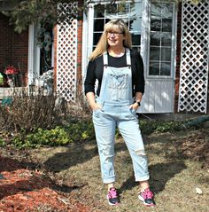 Keeping it Real in overalls and nike sneakers with a plain black tee and a new chic necklace