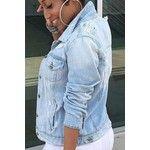 Street Style Plain Fashion Ripped Lapel Collar Long Sleeve Buttons Down Denim Jacket
