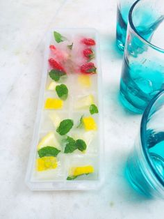 Ice cubes with a flavor