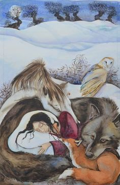 """Wolf, horse, swan, fox, and barn owl - Illustration by Jackie Morris -- Cover for """"Dreaming My Animal Self"""" by Helene Cardona Art Fantaisiste, Illustration Art Nouveau, Owl Illustration, Art Watercolor, Photo D Art, Inspiration Art, Native American Art, Native American Paintings, Whimsical Art"""