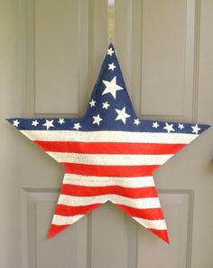 American Flag Star Burlap Door Hanger by AllUniqueThings on Etsy, $35.00