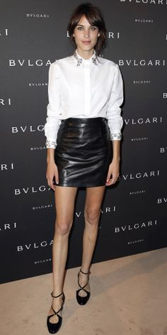 At the Bulgari cocktail party, Alexa Chung jazzed up a leather mini with a crisp white button-down by Christopher Kane that boasted embellished collar and cuffs, rendering accessories irrelevant. Black strappy low-heel pumps completed the look.