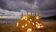 Superb Sand Castle Lit-up as the Sun Goes Down on the Beach