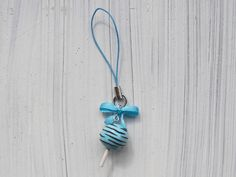 blue cake pop phone strap  polymer clay