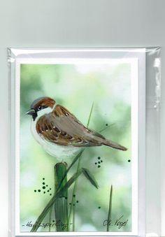 Grüße - Grußkarte - Haussperling, handgemalt - ein Designerstück von Vogelmalerin bei DaWanda