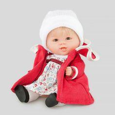 Кукла Бебетин в платье и красном пальто 21 см