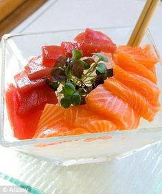 Have tuna and salmon sashimi instead of sushi. The rice in sushi creates a high-carb meal which leads to craving more food. Double the benefits by good protein in salmon and tuna, and Omega 3 especially with salmon.