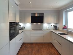 We have recently just completed this kitchen (design & installation) project using the Schuller Uni Open Plan Kitchen Living Room, Kitchen Room Design, Kitchen Cabinet Design, Modern Kitchen Design, Kitchen Interior, Modern Kitchen Ovens, Small Modern Kitchens, New Kitchen, Small U Shaped Kitchens