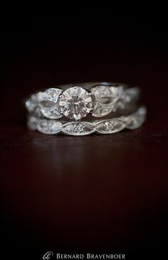beautiful antique style engagement ring and wedding band.