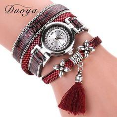Women Bracelet Silver Tassel Pendant Watch