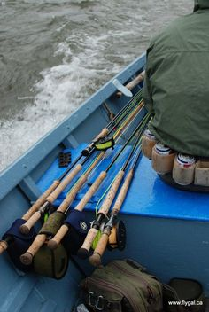 Another shot of spey rods is always nice, but check out this guy's beer belt!  Damn that's clever.