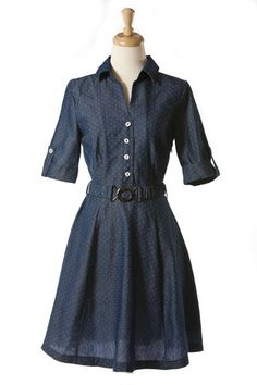 Dotted Lucille Chambray Dress | Tailor and Stylist