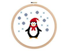 Christmas Penguin  Christmas cross stitch by HappyNeedleDesigns