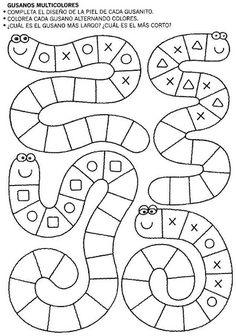 Snake tracing pattern page Preschool Learning Activities, Kindergarten Worksheets, Preschool Activities, Kids Learning, Learning Letters, Teaching Math, Math Patterns, Doily Patterns, Dress Patterns