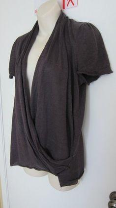 MOTH Anthropologie gray grey sweater shrug long tunic drape wrap yoga CUTE M $9.99