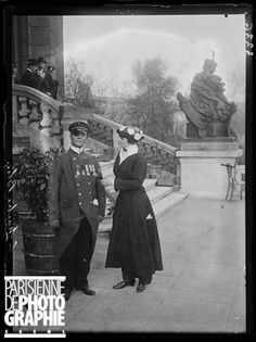 World War One. Gala for the war wounded at the Trocadero. Master Blin, hero of Dixmude, recipient of the Legion of Honour, of the military cross, getting a bunch of lily of the valley. Paris, on May 1st, 1915. Photograph published in the newspaper  Excelsior  of Wednesday, May 5, 1915.