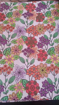Kleurplaat bloemen, kleurboek Action Paars