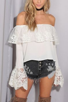 Off shoulder+lace hem for fashion outfits. #offshoulder #lace #white #top #blouse #ootd #maykool #style