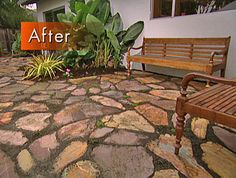 How to Create a Flagstone Patio  http://www.diynetwork.com/how-to/how-to-create-a-flagstone-patio/index.html