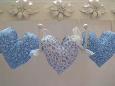 fabric hanging heart garland plush hearts by FingerPrickingGood