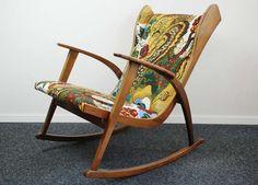 Knoll Antimott rocking chair, new fabric Josef Frank 1945 at 1stdibs
