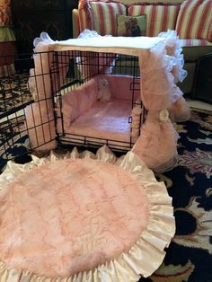 Luxury Dog Crate Cover - Ruffles, Silk and Satin Crate Cover - Luxury Dog Kennel Cover - Pers. Luxury Dog Crate Cover – Ruffles, Silk and Satin Crate Cover – Luxury Dog Kennel Cover – Pers Dog Crate Cover, Dog Kennel Cover, Luxury Dog Kennels, Bunny Room, Bunny Cages, Pet Hotel, Kawaii Room, Dog Rooms, Kittens Playing