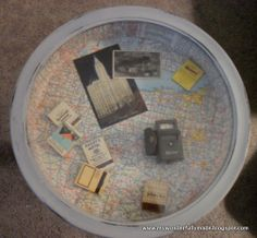 Table - vintage travel. I like the idea of a shadow box table with things in it - pictures, passports, tickets, travel guides, etc.