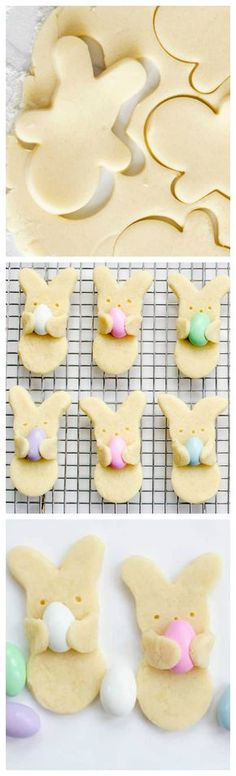 "Easter Bunny Cookies ~ Adorable Easter bunny cookies that look like they're carrying Easter eggs. Your favorite sugar cookie recipe, Jordan almonds, and a cookie cutter. cupcakes for kids Adorable Easter Bunny ""Hug"" Cookies - Fun Loving Families Easter Cookies, Easter Treats, Fun Cookies, Holiday Cookies, Holiday Desserts, Holiday Baking, Holiday Treats, Holiday Recipes, Holiday Gifts"
