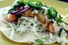 These Baja California-Style Shrimp Tacos are a delicious Tex-Mex dish with an irresistible chipotle mayo sauce! Shrimp Recipes, Fish Recipes, Mexican Food Recipes, Dinner Recipes, Ethnic Recipes, Dinner Ideas, Kitchen Recipes, Cooking Recipes, Healthy Recipes