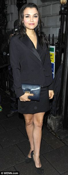 Samantha Barks looks stunning with her Manhattan Clutch from Aspinal of London