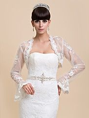 Wedding++Wraps+Coats/Jackets+Long+Sleeve+Lace+White+Wedding+/+Party/Evening+/+Casual+Bell+Sleeves+Open+Front+–+USD+$+40.00