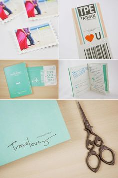 Creative passport invitation (travel theme)