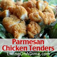 This easy 20 minute meal includes only 3 ingredients you can make in a snap, just using boneless, skinless chicken,egg and  Parmesan cheese!  Click here to get the recipe!  http://www.livingonadime.com/3-ingredient-recipes-chicken-tenders/