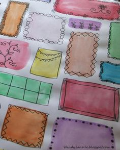 Watercolor squares and shapes ... then doodle frames, etc.