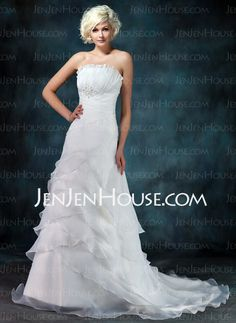 Wedding Dresses - $133.39 - A-Line/Princess Scalloped Neck Court Train Organza Wedding Dresses With Ruffle Beadwork (002012849) http://jenjenhouse.com/A-Line-Princess-Scalloped-Neck-Court-Train-Organza-Wedding-Dresses-With-Ruffle-Beadwork-002012849-g12849