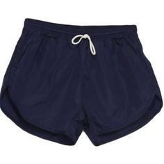 American Apparel Nineties Vintage Shorts: 90s -American Apparel- Mens dark blue nylon, cotton brief lined elastic waist wicked 90s running shorts with tie off waistline and notched side vent hems.