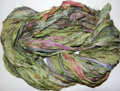 Recycled Sari Silk Ribbon Yarn Tart apple pink by JuliaLCraft