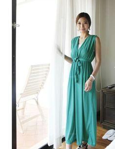 Bohemian Sleeveless Plunging Neck High Waist Green Cotton Blend Maxi Dress For Women (GREEN,FREE SIZE) China Wholesale - Sammydress.com