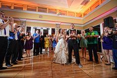 Aggie War Hymn at reception. Wedding at St Elizabeth Ann Seton, by Ivey Photography.