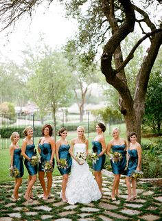 Rustic Peacock Themed Wedding - bridesmaids dresses.  It would be so cute if we all picked the same dress. Look at how freaking adorable this is. <3